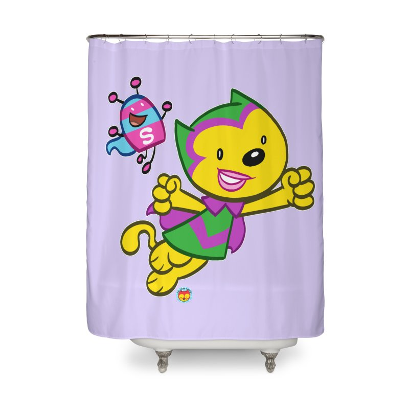 ACTION CAT & SHELLY Home Shower Curtain by Art Baltazar