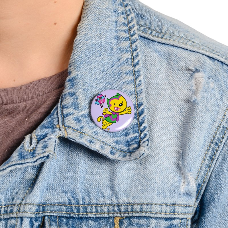 ACTION CAT & SHELLY Accessories Button by Art Baltazar