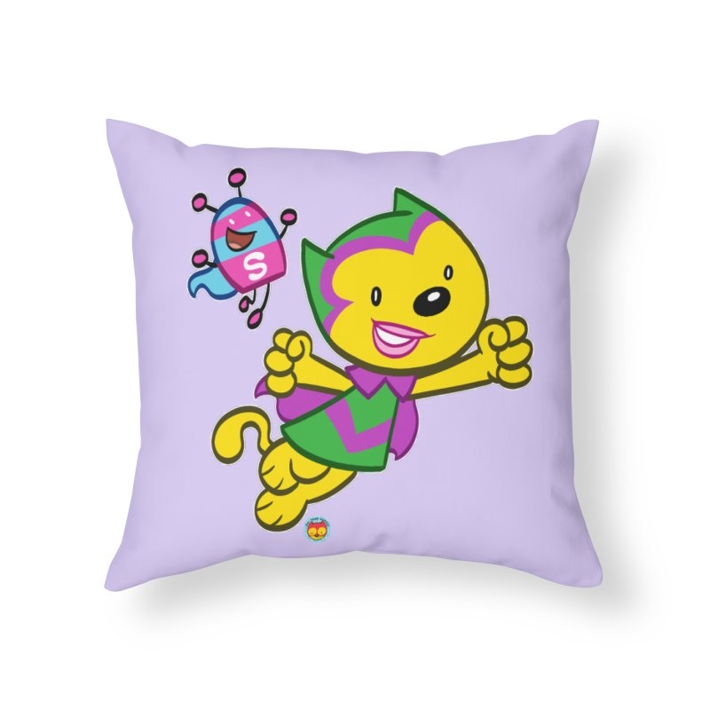 ACTION CAT & SHELLY Home Throw Pillow by Art Baltazar