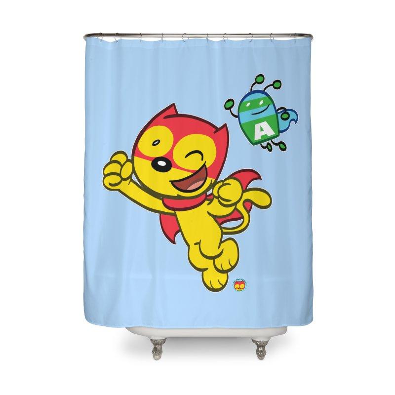 ACTION CAT & ADVENTURE BUG Home Shower Curtain by Art Baltazar