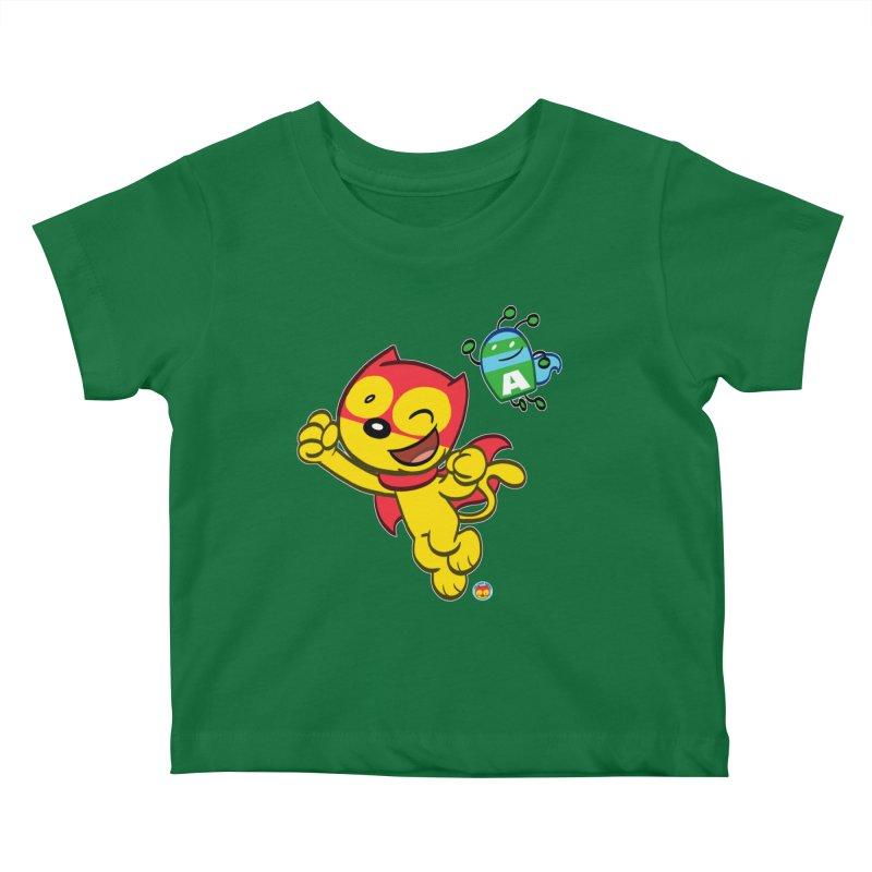 ACTION CAT & ADVENTURE BUG Kids Baby T-Shirt by Art Baltazar
