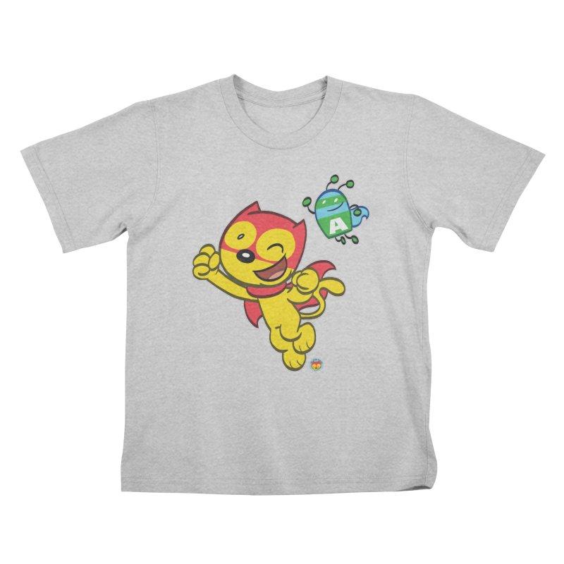 ACTION CAT & ADVENTURE BUG Kids T-Shirt by Art Baltazar