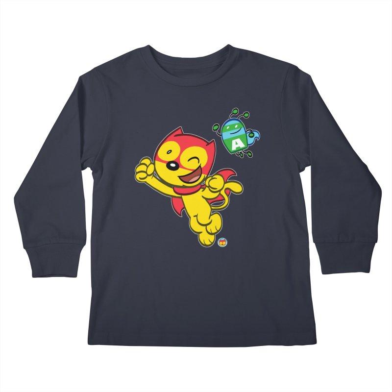 ACTION CAT & ADVENTURE BUG Kids Longsleeve T-Shirt by Art Baltazar