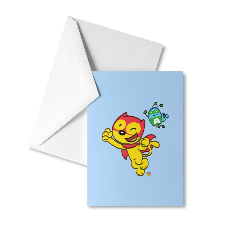 ACTION CAT & ADVENTURE BUG Accessories Greeting Card by Art Baltazar