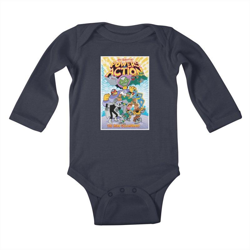 POWERS IN ACTION: THE HERO SQUADRON! Kids Baby Longsleeve Bodysuit by Art Baltazar