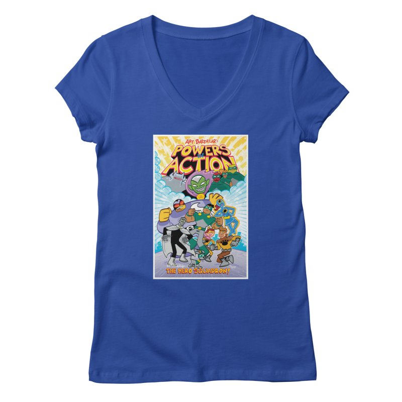 POWERS IN ACTION: THE HERO SQUADRON! Women's V-Neck by Art Baltazar