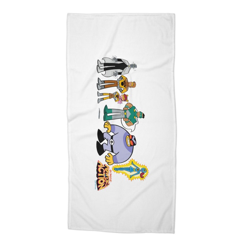 The HERO SQUADRON Line-Up! Accessories Beach Towel by Art Baltazar