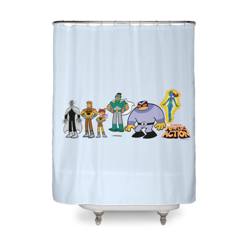 The HERO SQUADRON Line-Up! Home Shower Curtain by Art Baltazar