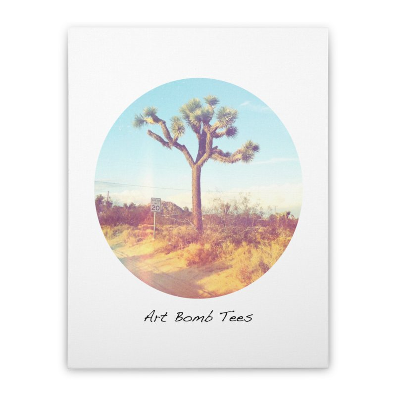 Desert Roads - Circular Home Stretched Canvas by artbombtees's Artist Shop