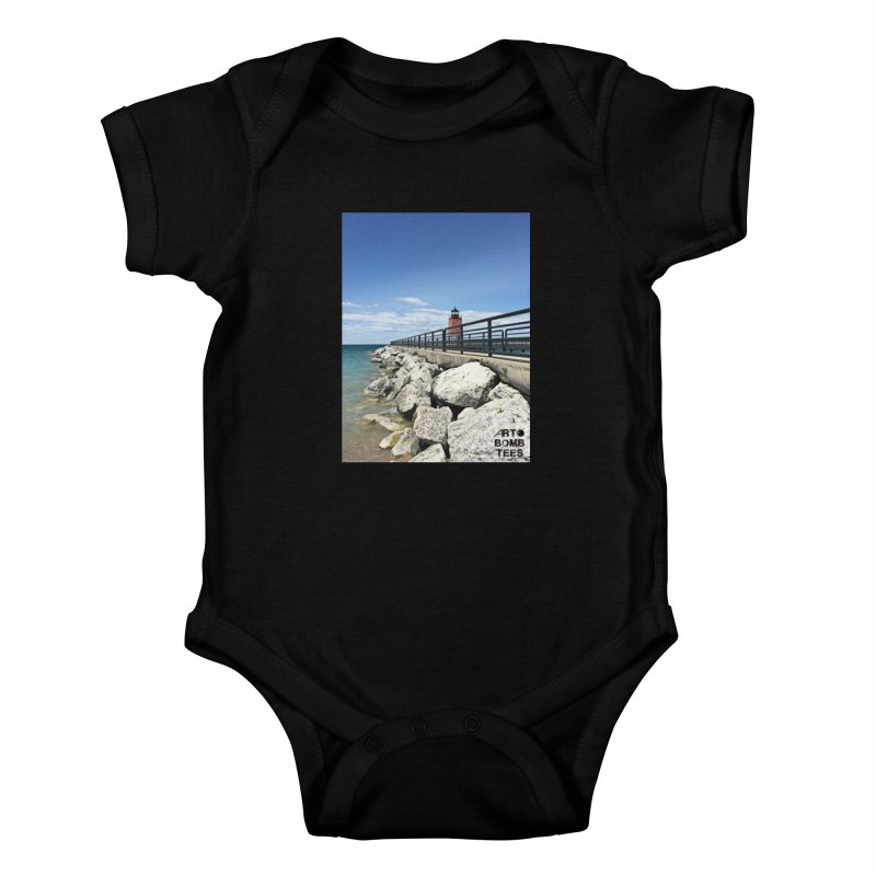 Northern Lighthouse Kids Baby Bodysuit by artbombtees's Artist Shop