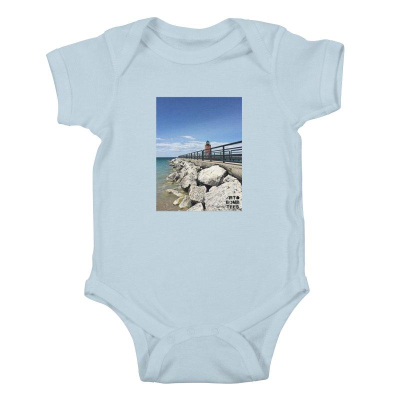 Northern Lighthouse Kids Baby Bodysuit by artbombtees's Artist Shop