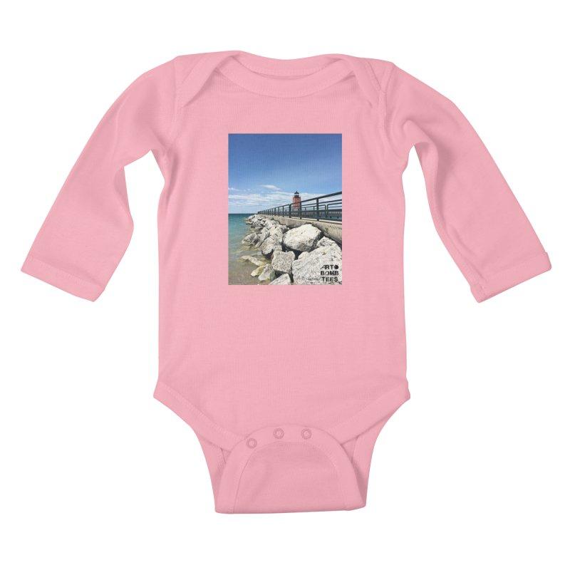 Northern Lighthouse Kids Baby Longsleeve Bodysuit by artbombtees's Artist Shop