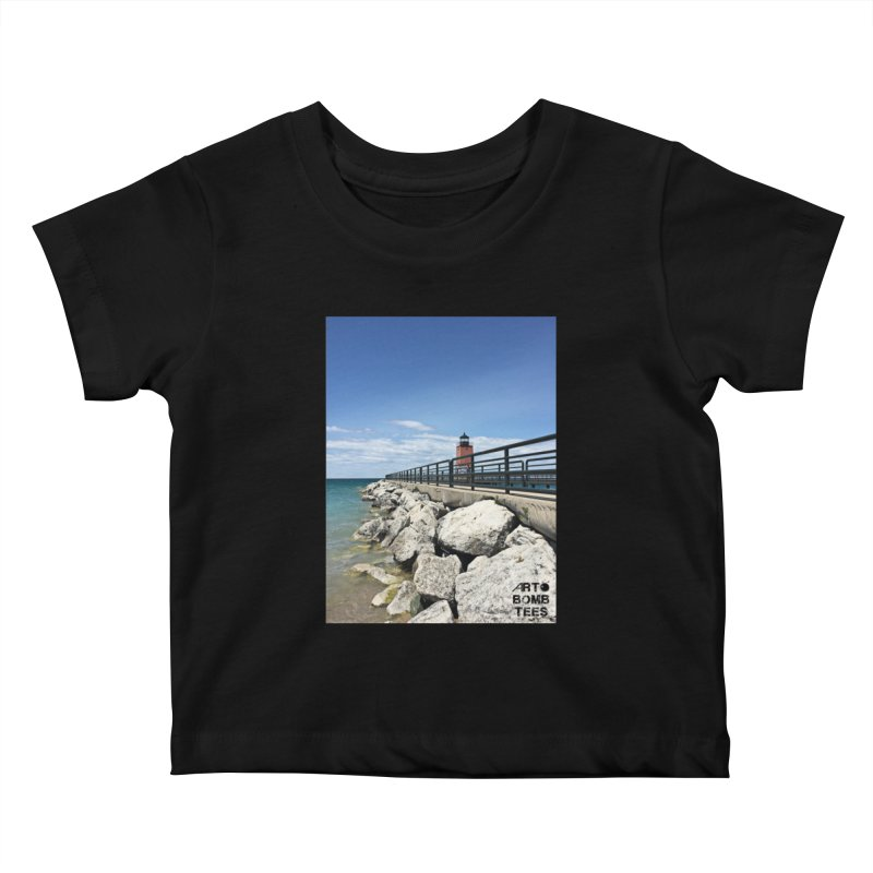 Northern Lighthouse Kids Baby T-Shirt by artbombtees's Artist Shop