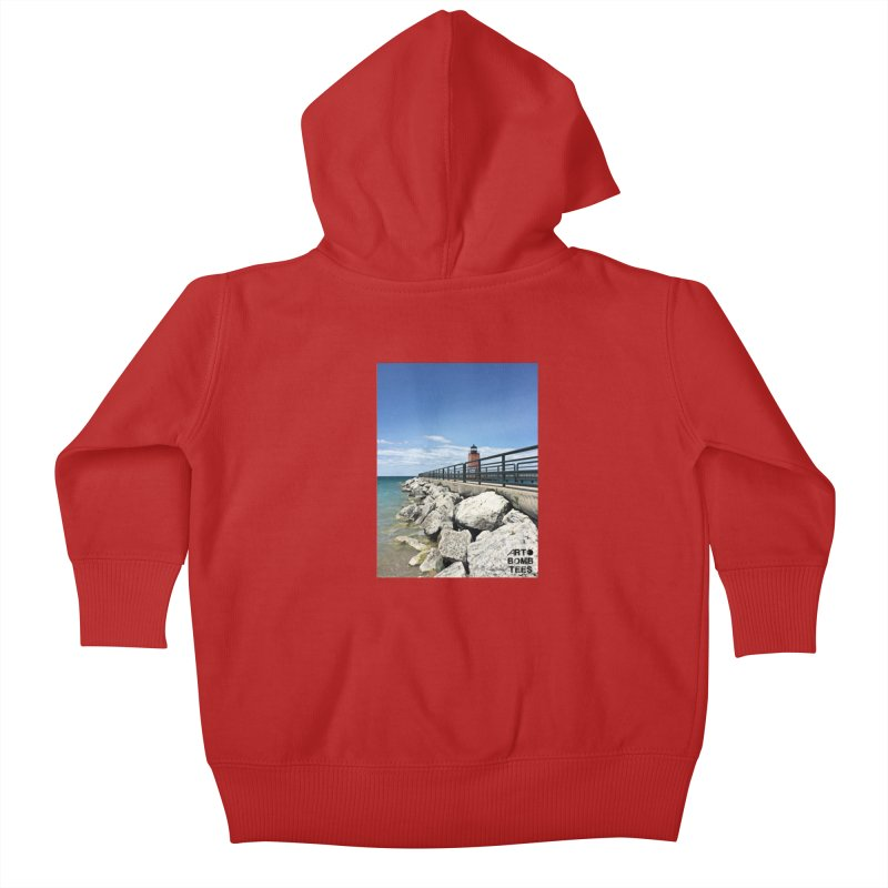 Northern Lighthouse Kids Baby Zip-Up Hoody by artbombtees's Artist Shop