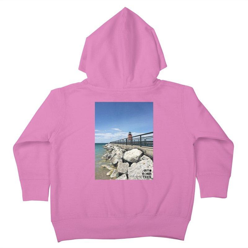 Northern Lighthouse Kids Toddler Zip-Up Hoody by artbombtees's Artist Shop