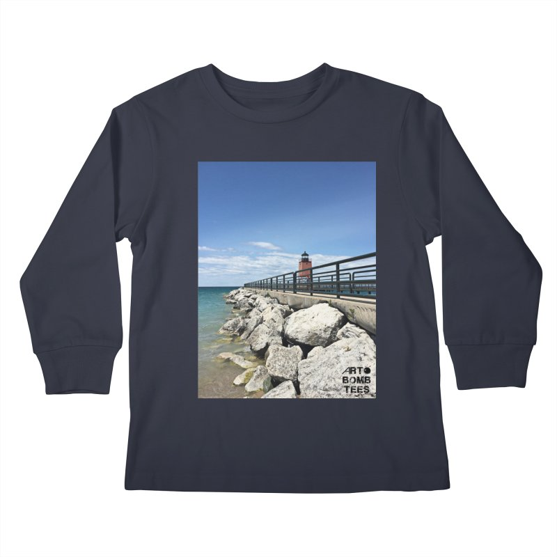 Northern Lighthouse Kids Longsleeve T-Shirt by artbombtees's Artist Shop
