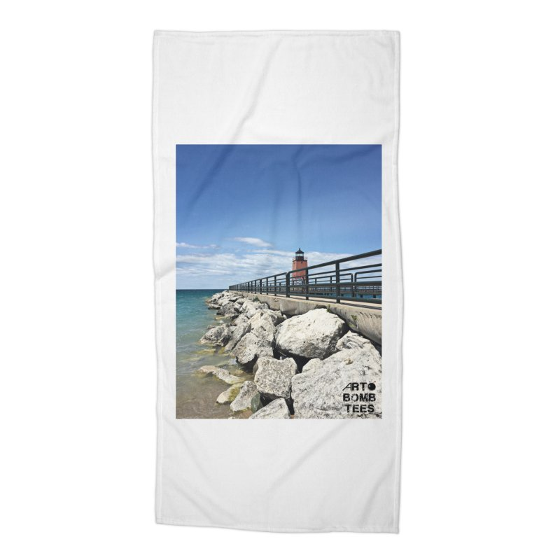 Northern Lighthouse Accessories Beach Towel by artbombtees's Artist Shop