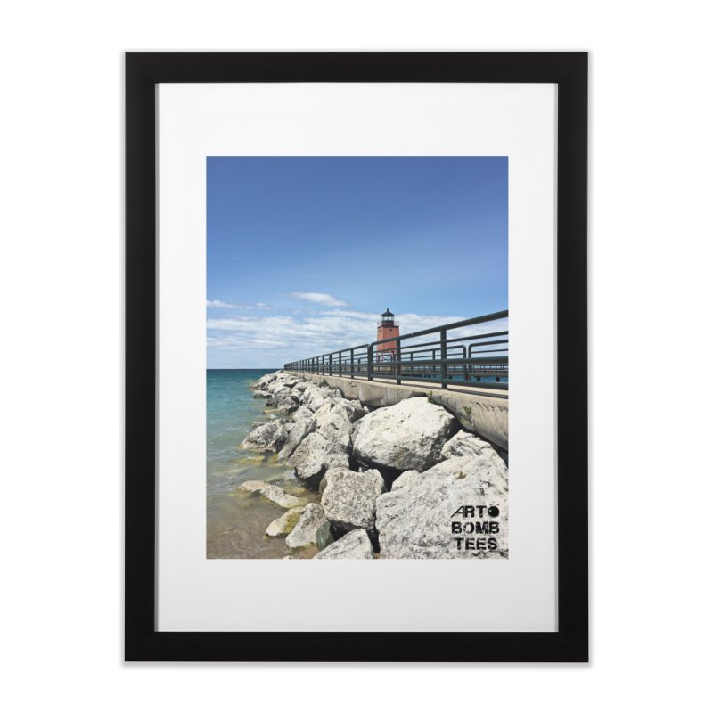 Northern Lighthouse Home Framed Fine Art Print by artbombtees's Artist Shop