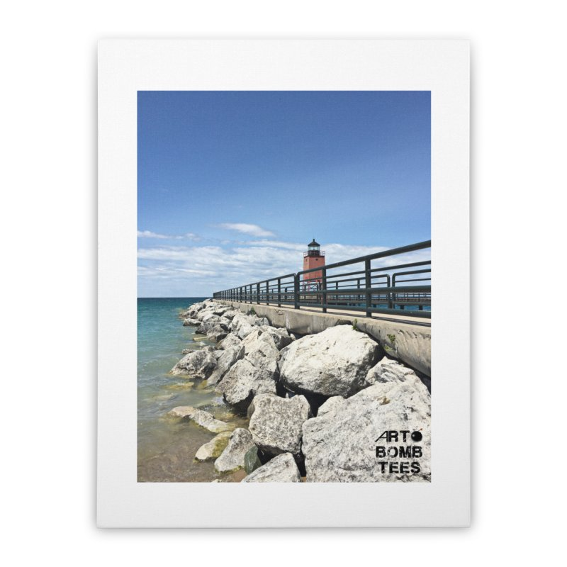 Northern Lighthouse Home Stretched Canvas by artbombtees's Artist Shop