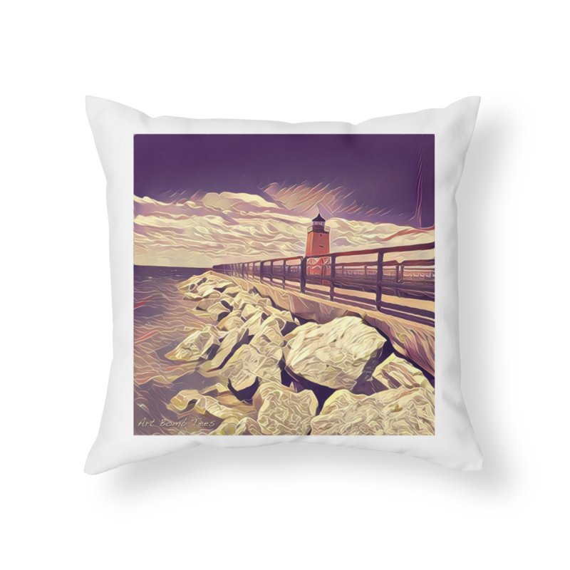 The Lighthouse Home Throw Pillow by artbombtees's Artist Shop
