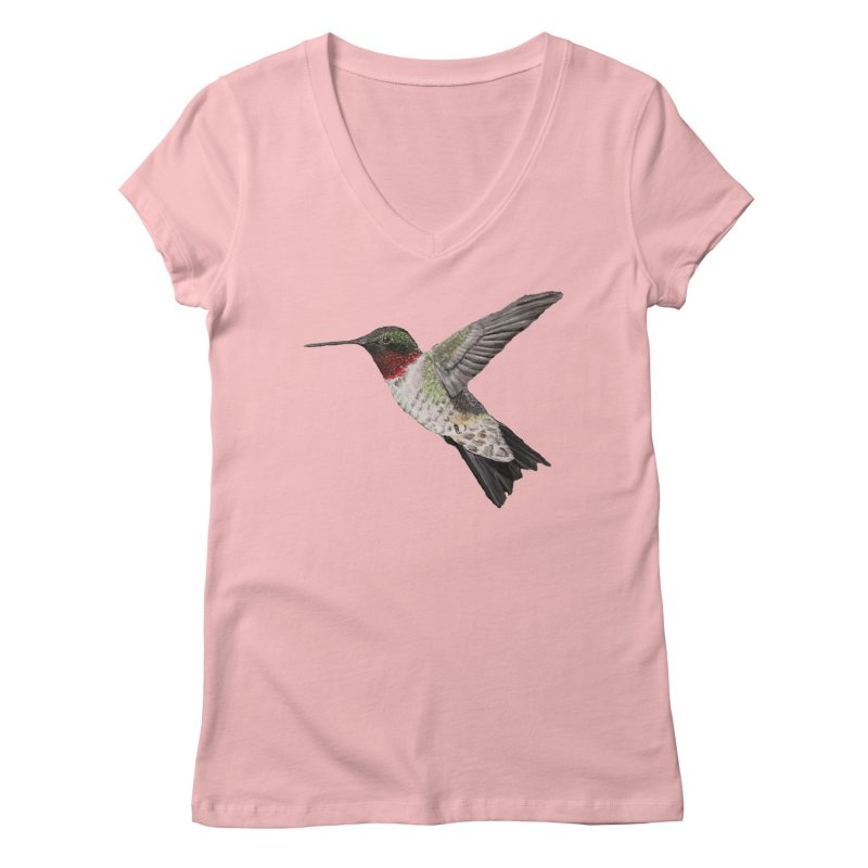 Ruby Throated Hummingbird PNG (No background) in Women's Regular V-Neck Pink by Art By BB's Artist Shop