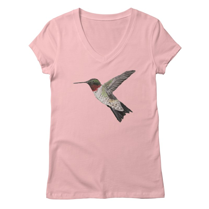 Ruby Throated Hummingbird PNG (No background) in Women's Regular V-Neck Pink by ArtByBB's Artist Shop