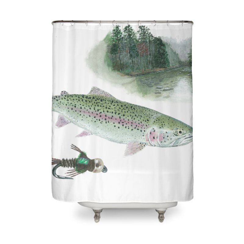 Rainbow Trout Collage Home Shower Curtain by Art By BB's Artist Shop
