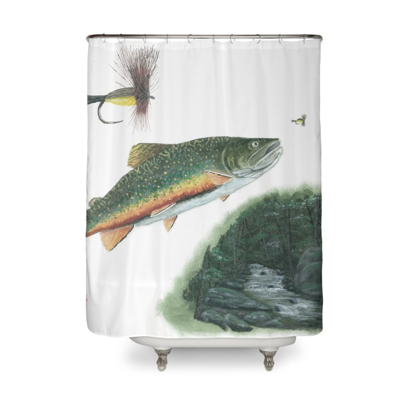 Brook Trout Collage Home Shower Curtain by Art By BB's Artist Shop