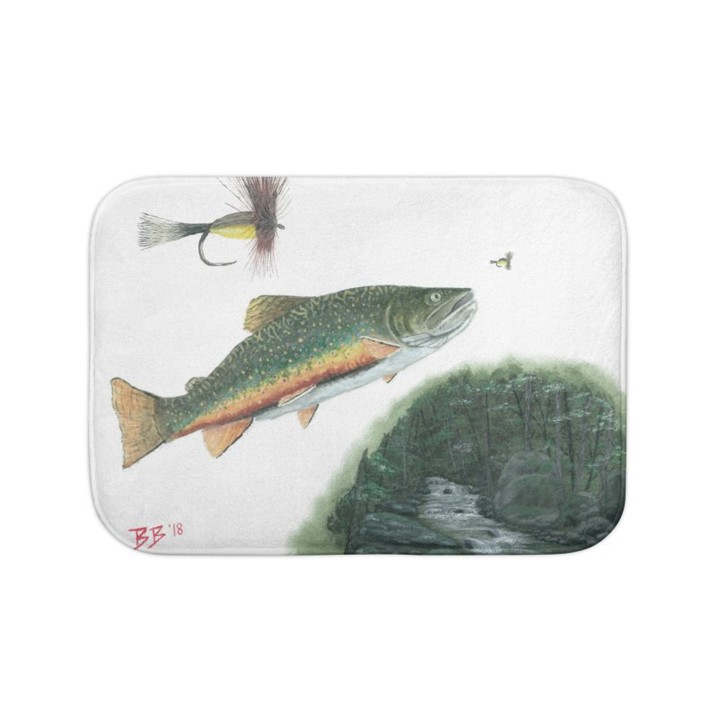 Brook Trout Collage Home Bath Mat by Art By BB's Artist Shop