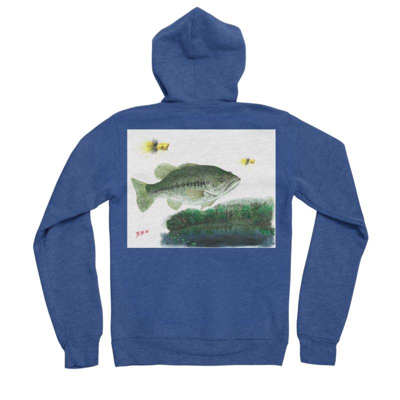 Largemouth Bass Collage Men's Sponge Fleece Zip-Up Hoody by Art By BB's Artist Shop