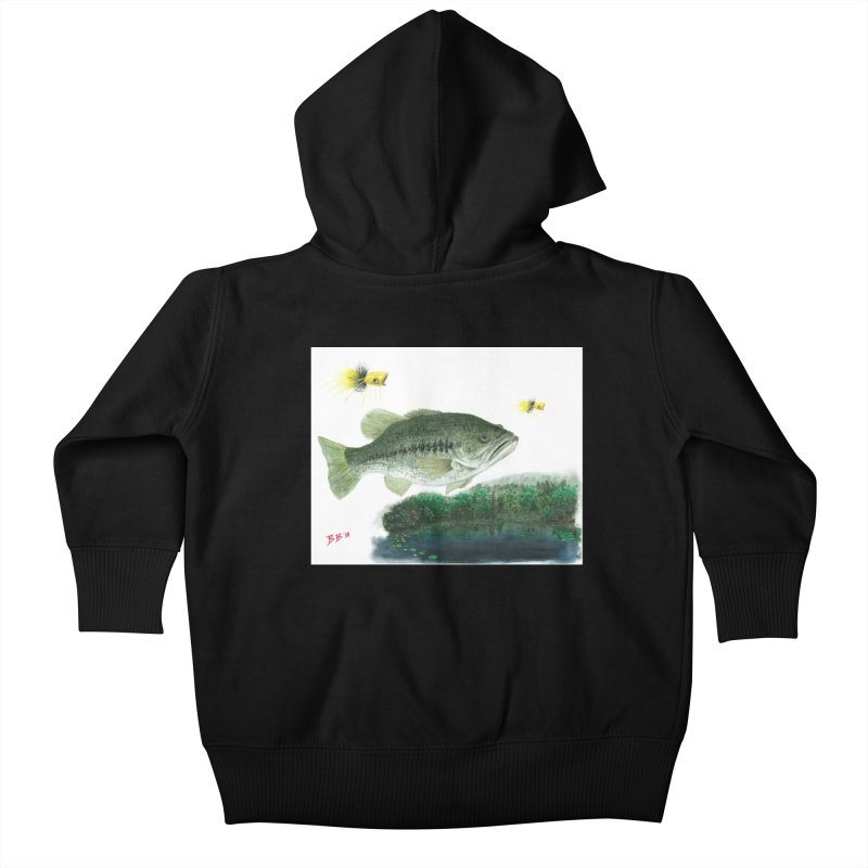 Largemouth Bass Collage Kids Baby Zip-Up Hoody by Art By BB's Artist Shop