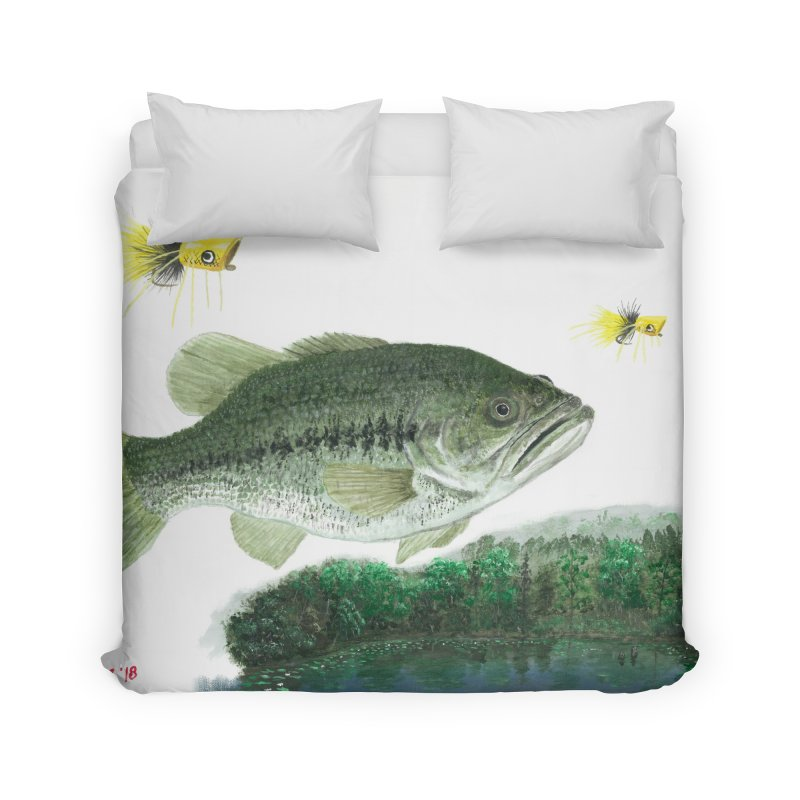 Largemouth Bass Collage Home Duvet by Art By BB's Artist Shop