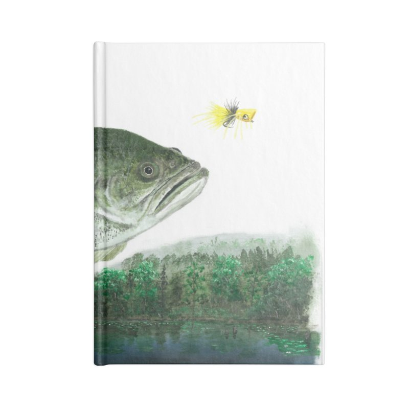 Largemouth Bass Collage Accessories Lined Journal Notebook by Art By BB's Artist Shop