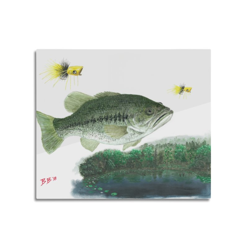 Largemouth Bass Collage Home Mounted Aluminum Print by Art By BB's Artist Shop
