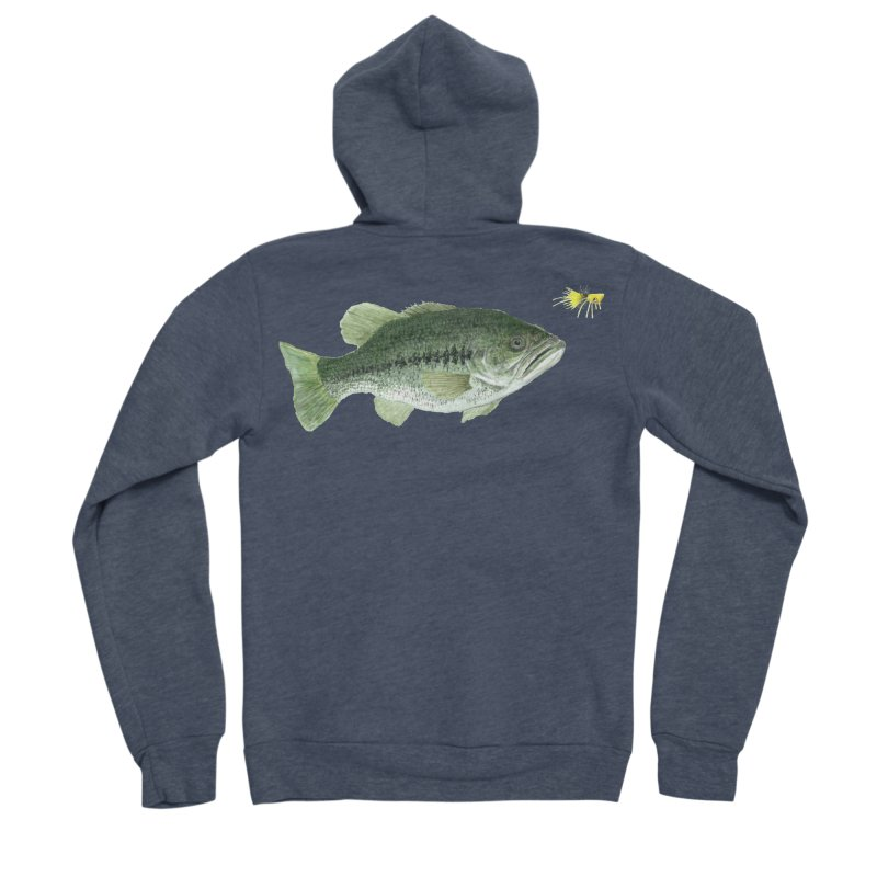 Largemouth Bass with Popping Bug Men's Sponge Fleece Zip-Up Hoody by Art By BB's Artist Shop