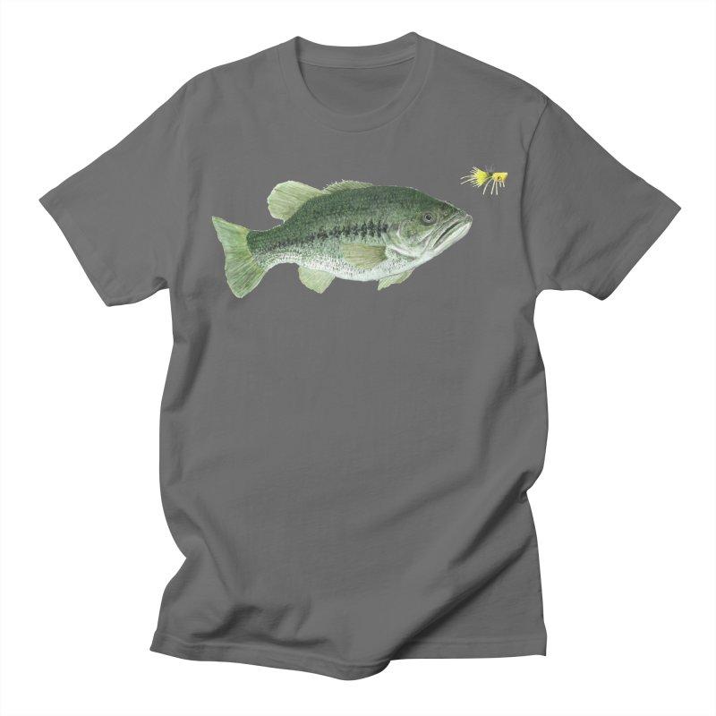 Largemouth Bass with Popping Bug in Men's Regular T-Shirt Asphalt by ArtByBB's Artist Shop