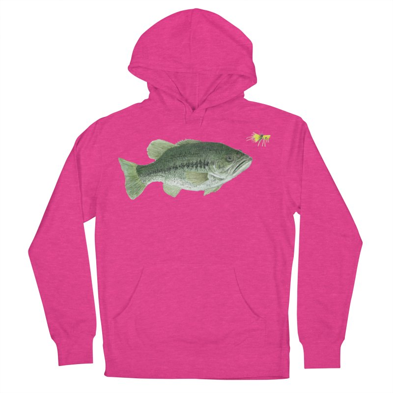 Largemouth Bass with Popping Bug Women's French Terry Pullover Hoody by Art By BB's Artist Shop