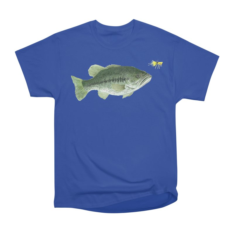 Largemouth Bass with Popping Bug Women's Heavyweight Unisex T-Shirt by Art By BB's Artist Shop
