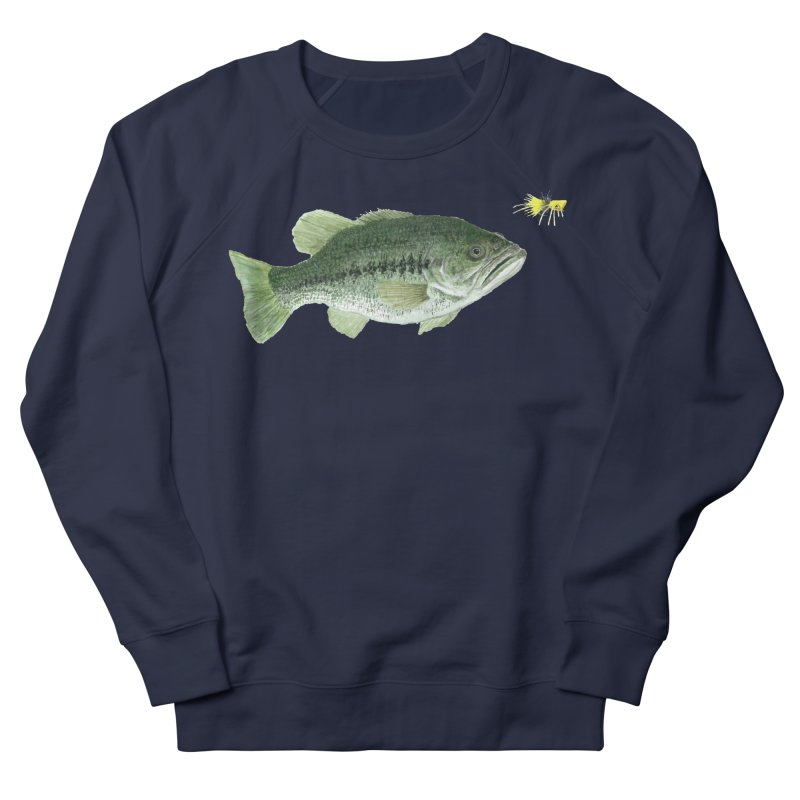 Largemouth Bass with Popping Bug Women's French Terry Sweatshirt by Art By BB's Artist Shop