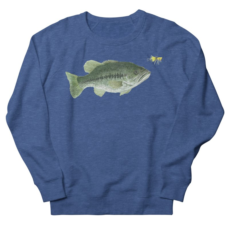 Largemouth Bass with Popping Bug Men's French Terry Sweatshirt by Art By BB's Artist Shop