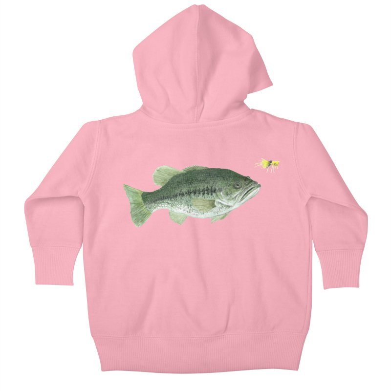 Largemouth Bass with Popping Bug Kids Baby Zip-Up Hoody by Art By BB's Artist Shop