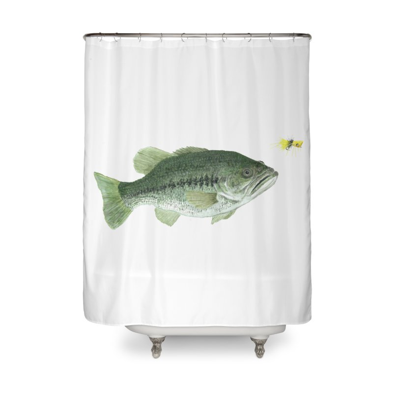 Largemouth Bass with Popping Bug Home Shower Curtain by Art By BB's Artist Shop
