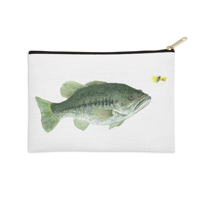 Largemouth Bass with Popping Bug Accessories Zip Pouch by Art By BB's Artist Shop
