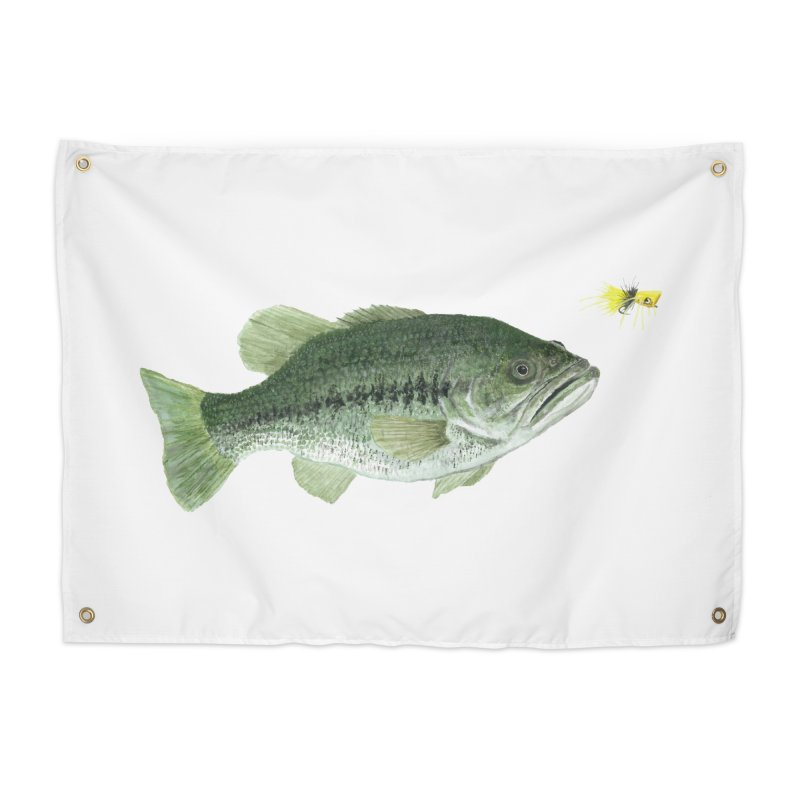 Largemouth Bass with Popping Bug Home Tapestry by Art By BB's Artist Shop