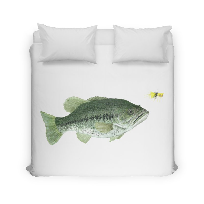 Largemouth Bass with Popping Bug Home Duvet by Art By BB's Artist Shop