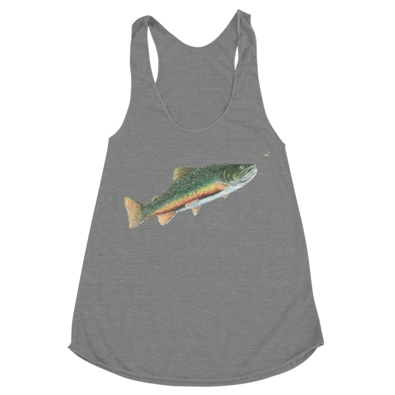 Brook Trout and Dry Fly Women's Racerback Triblend Tank by Art By BB's Artist Shop