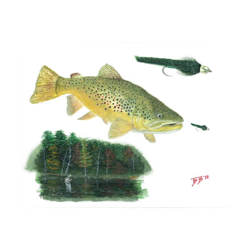 Brown Trout Collage Home Bath Mat by Art By BB's Artist Shop