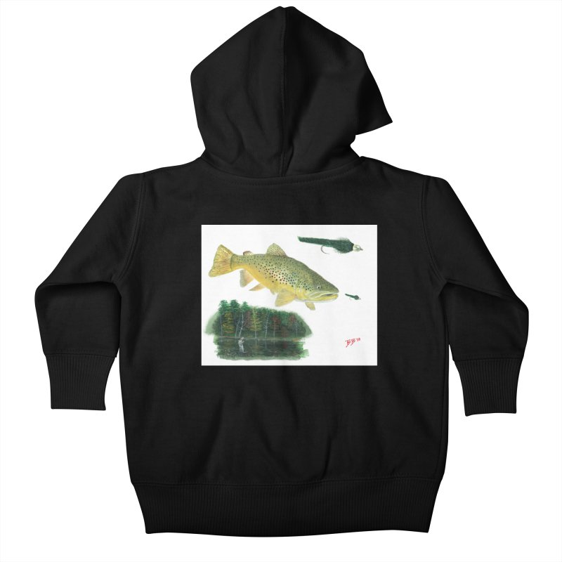 Brown Trout Collage Kids Baby Zip-Up Hoody by Art By BB's Artist Shop