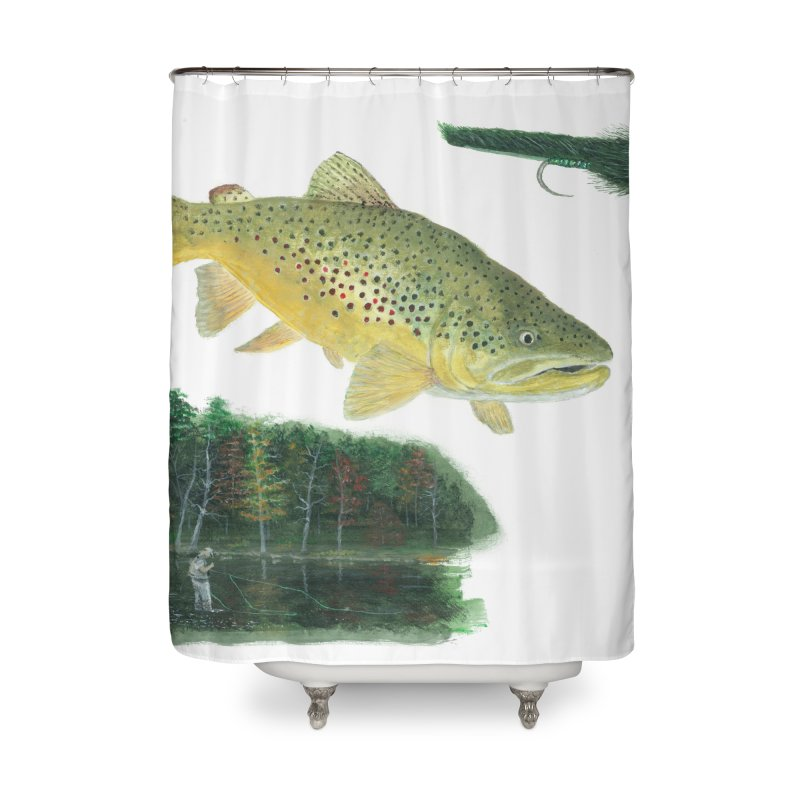 Brown Trout Collage Home Shower Curtain by Art By BB's Artist Shop