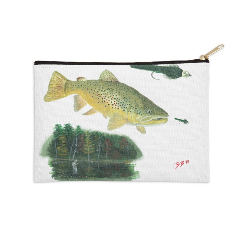 Brown Trout Collage Accessories Zip Pouch by Art By BB's Artist Shop